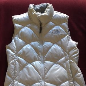 North Face White 550 Puffer Vest